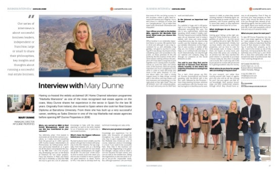 Interview Mary Dunne for Costa del HOME