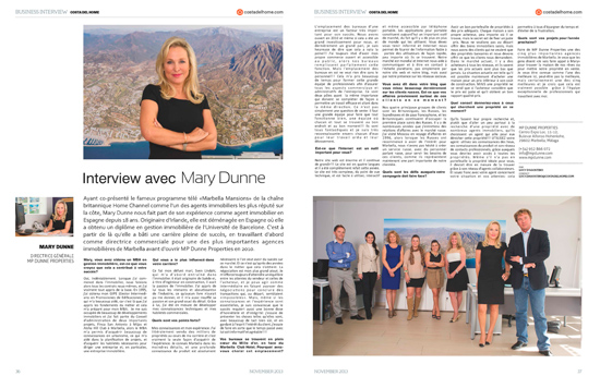 Interview avec Mary Dunne pour Costa del HOME